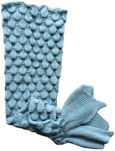 Promotional Gift Knitted Acrylic Fabric Mermaid Tail Blanket for Kids and Adults