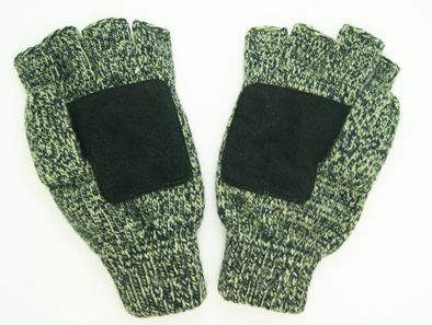 Wholesale Customized Warm Fingerless Glove with Leather Acrylic Knitted Winter Glove with Pocket