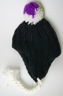 Acrylic Knitted New Beautiful Ladies Hat with Earflap Cap with Metal yarn and POM