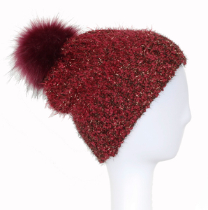 Hot Sale 100% Acrylic Customized Knitted Winter Warm Hat Beanies with Metal Yarn