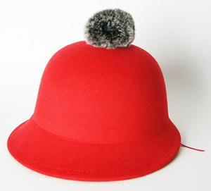 2017 New Arrival Lady Fashion Wool Felt Hat with Irregular Brim and Fur POM