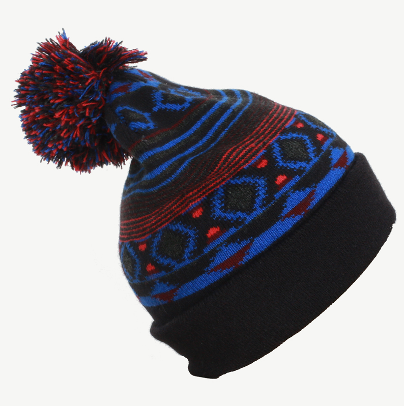 2018 New Arrival 100% Acrylic Jacquard Cuffed Knitted Winter Beanie Hat with Pompom