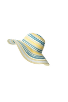 Stylish Lady Stripe Paper Wide Brim Hats Summer Floppy Straw Hat