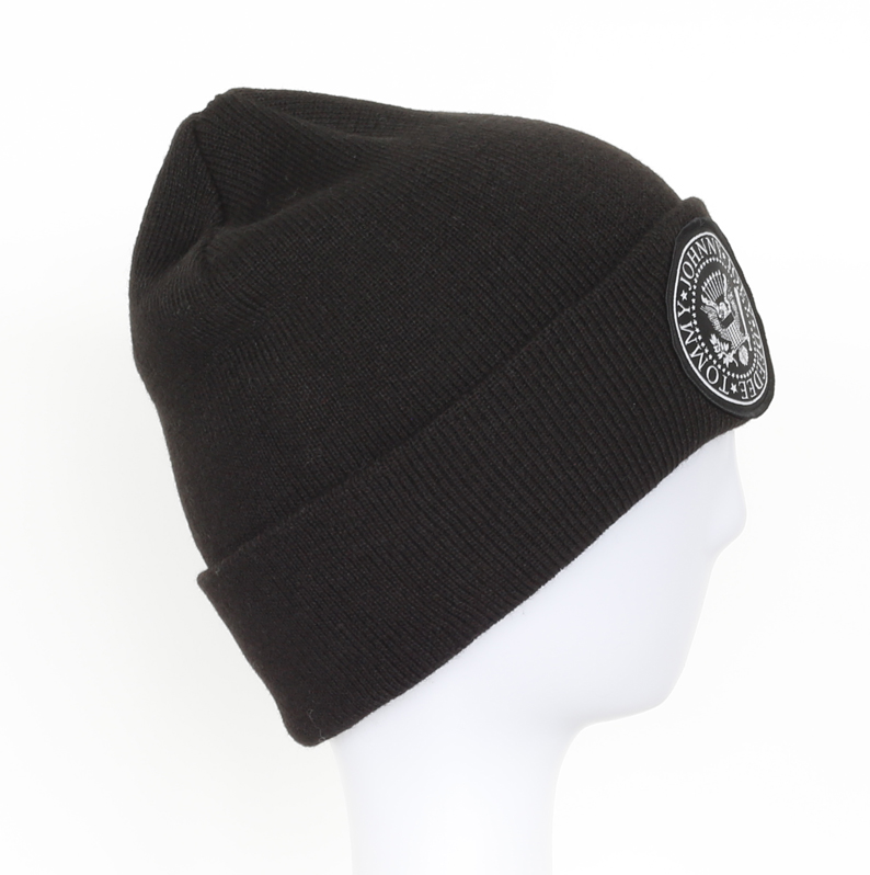 Wholesale Customized Simple Beanie Knitted Winter Cuffed Hat with printed patch