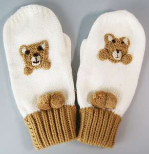 Wholesale Customized Small MOQ Polpular Lovely Acrylic Bear Knitted Gloves
