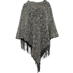 Chunky Knit Shawl Cardigan Sweater Open Front Poncho and Shawl with Fringed Hem