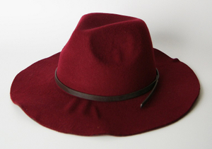 Women Wool Felt Hat Fashion Fedora Hat with Leather Band