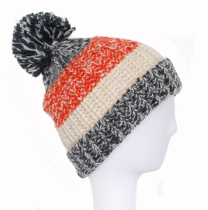 100% Acrylic Jacquard Cuffed Knitted Winter Beanie Hat with Pompom